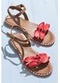 Elle Deri Sandalet Kırmızı